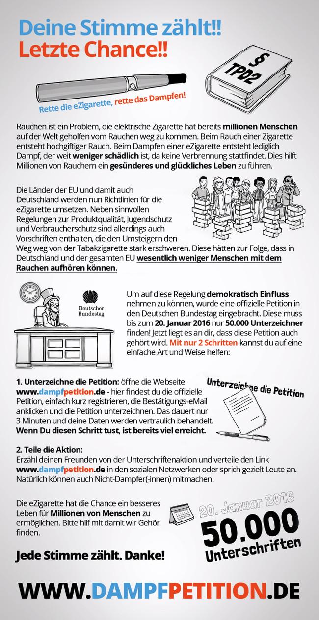 Offizieller Flyer von Dampfpetition.de zur Petition 61453! Jede Stimme zählt