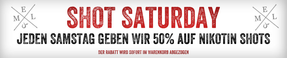 Samstag Rabatt - 50% auf Nikotin Shots